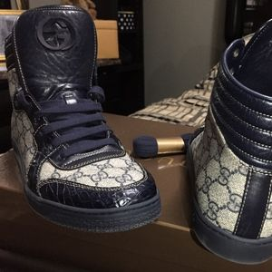 c53b8034a82 Gucci Shoes - Gucci GG Supreme Canvas Caiman Alligator High Tops